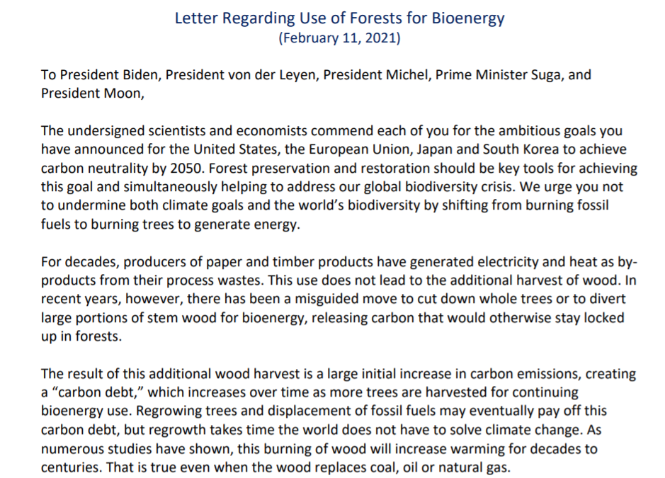 500 scientists sign letter against burning forests for energy.